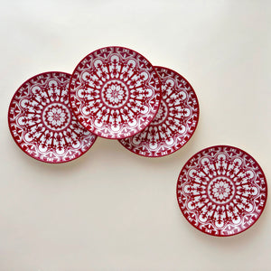 Casablanca crimson Canape Plate Set of 4 in Red and White