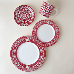 Casablanca Crimson Oversized Mug Shown with Dinner Salad and Bread Plates in Red and White