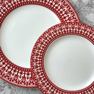 Casablanca Crimson Rimmed Dinner Plate and Salad Plate in Red and White