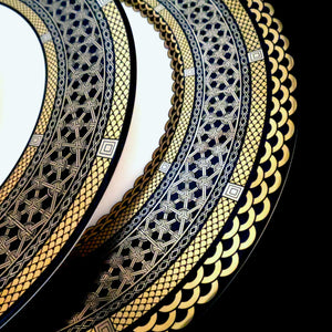 Hawthorne Onyx (Gold, Platinum & Black) Bone China Charger Plate and Dinner Plate