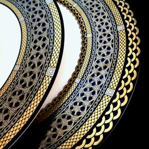 Hawthorne Onyx (Gold, Platinum & Black) Charger and Dinner Plate