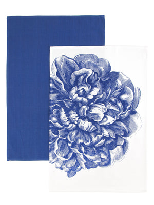 Big Bold Blue Peony Bloom Cotton Kitchen Towel Paired with Solid Blue Towel Set of 2