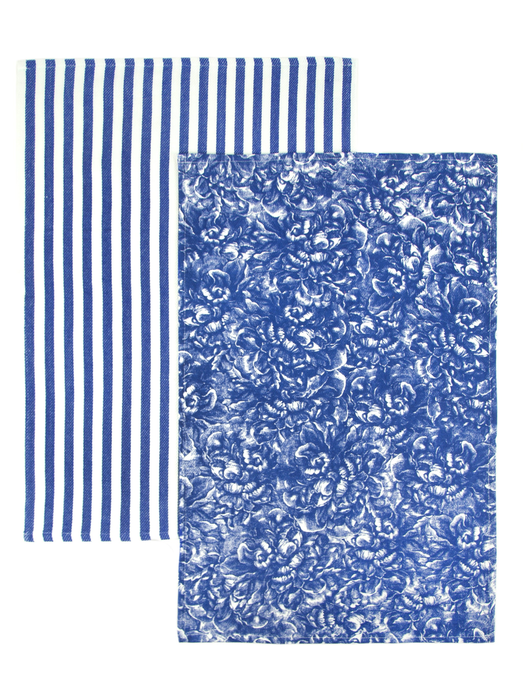 Peony Blue Print Set/2 Thick, Cotton Kitchen Towels