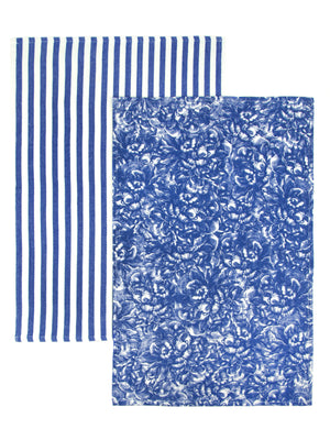 Peony Blue Print Set/2 Thick, Cotton Kitchen Towels - Caskata