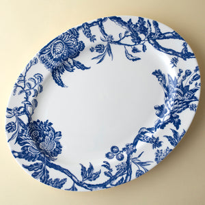 Colonial Williamsburg Arcadia Floral Blue Large Rimmed Oval Platter
