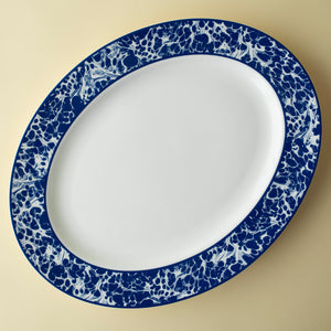 Colonial Williamsburg Blue Marble Large Rimmed Oval Platter