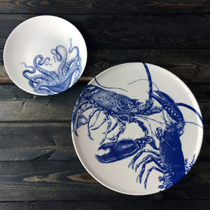 Blue Lobster Coupe Platter and Blue Lucy Accent Plate