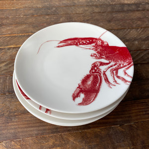 Set of 4 Red and White Appetizer Plates with Lobsters from Caskata