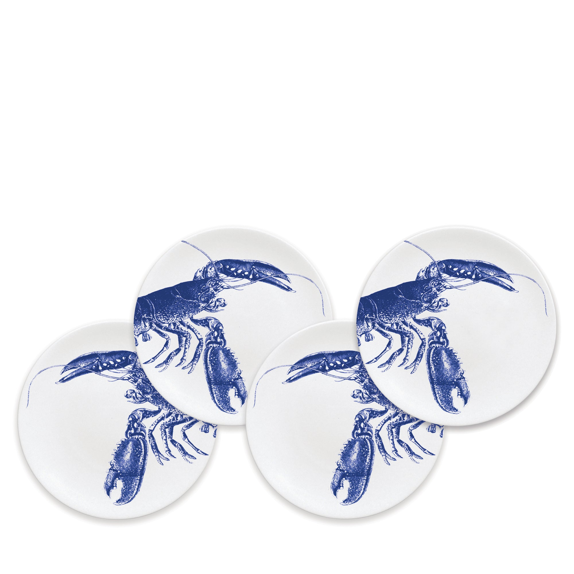 Blue Lobster Canapé Plates- Boxed Set/4 - Caskata