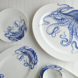 Blue Lucy Octopus Large Rimmed Oval Platter, Medium Rimmed Oval Platter and Accent Plate