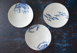 Crabs Blue Coupe Low Profile Soup Pasta Bowl with Blue Lucy Coupe Soup Bowl and School of Fish Blue Coupe Soup Bowl