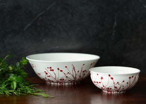 Winterberries Red Medium Serving Vegetable Bowl and Cereal Bowl