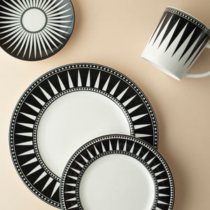 Marrakech Black 4 Piece Place Setting (Dinner, Salad, Bread Plate, Mug)