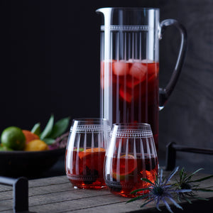 Marrakech Tall Pitcher with Set of 2 Marrakech Stemless Wine Glasses from Caskata Shown with Sangria