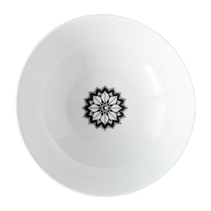 Marrakech Serving Bowl in Black and White premium porcelain overhead from Caskata