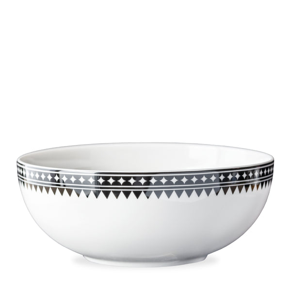 Marrakech Black and White Graphic Serving Bowl in Premium Porcelain from Caskata