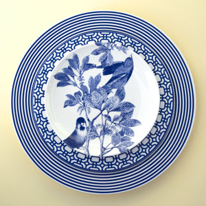 Newport dinner plate and Newport salad plate with Arbor Birds Canape Plate in Blue and White