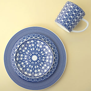 Newport Blue 4 Piece Place Setting (Dinner, Salad, Bread Plate, Mug)