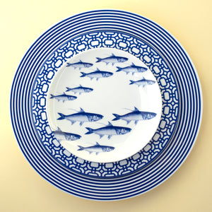 School of Fish Blue Appetizer Plate with Newport Dinner and Salad