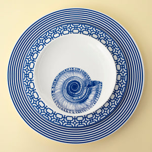 Shells Blue Appetizer Plate with Newport Dinner and Salad