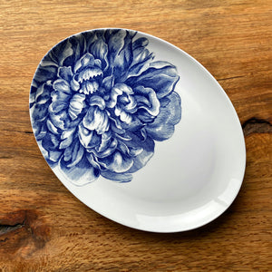 Peony Blue 14 in. Coupe Oval Platter - Caskata
