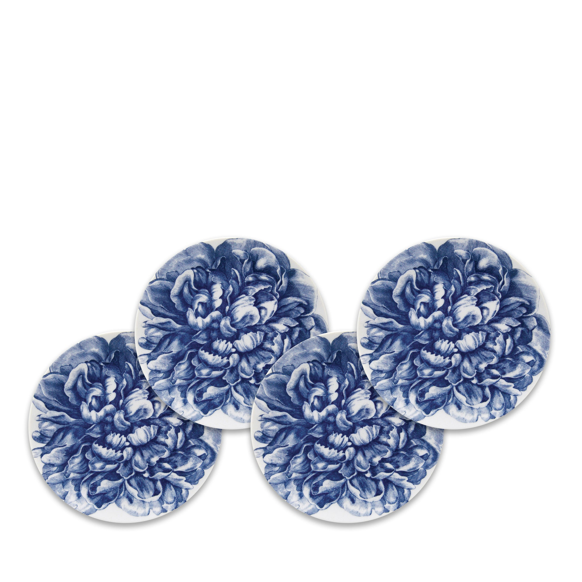 Peony Blue Full Canapé Plates Boxed Set/4 - Caskata
