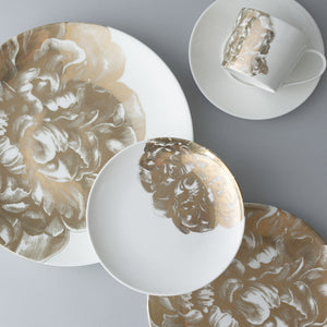 Peony Gold 5 Piece Place Setting (Dinner, Salad, Bread Plate, Cup & Saucer)