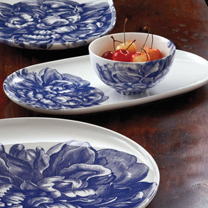 Peony Blue Small Coupe Oval Platter, Small Snack Bowl and Coupe Round Platter