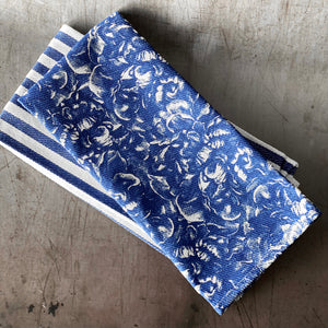 Blue Peony Overall Blue Kitchen Towels - Mixed Set/2 - Caskata