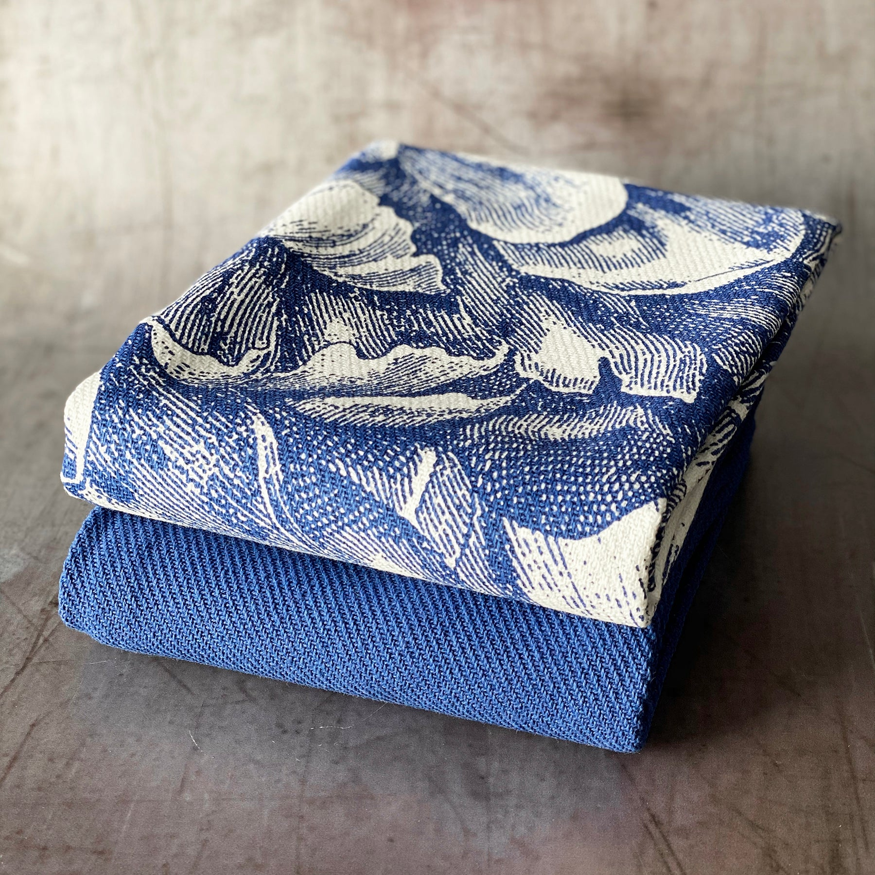Blue Peony Large Blue Kitchen Towels - Mixed Set/2 - Caskata