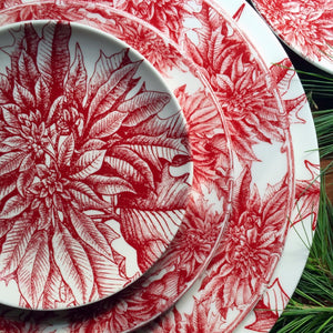 Poinsettia Salad Plate with Poinsettia Charger, Dinner Plate and Appetizer Plate