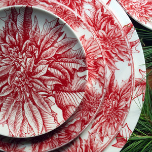 Poinsettia Dinner Plate with Poinsettia Charger, Salad Plate and Appetizer Plate