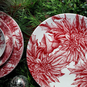 "Poinsettia (RED) 12.5"" Coupe Platter"