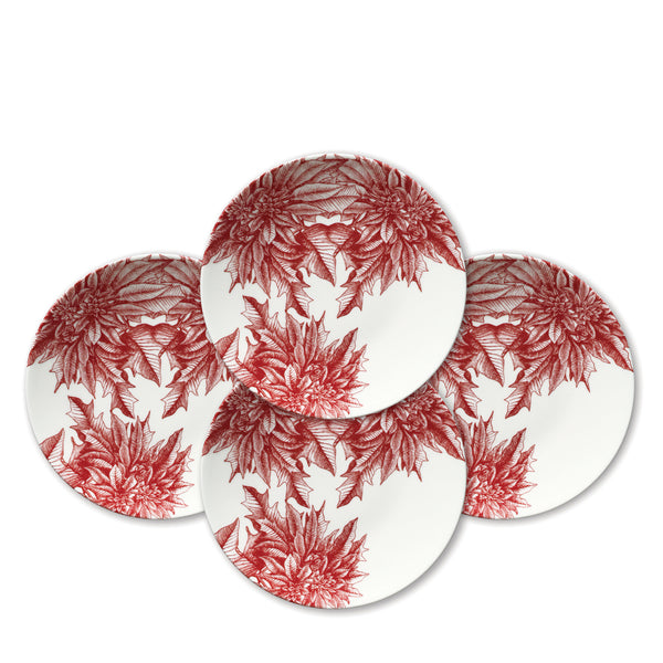 Poinsettia Coupe Accent Plates Boxed Set of 4