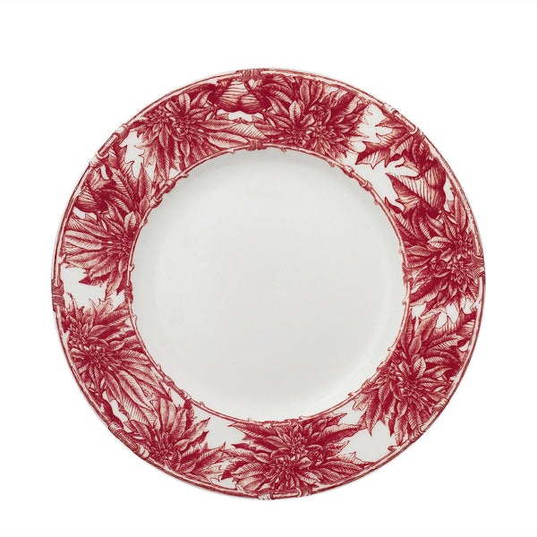 Poinsettia Red 10.75 in Rimmed Dinner Plate