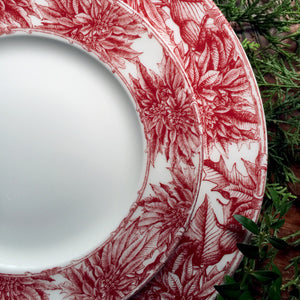 Poinsettia Red Dinner Plate and Salad Plate