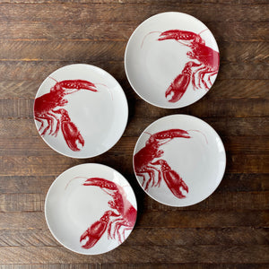Set of 4 Lobster Canape Plates in Red and White Porcelain from Caskata