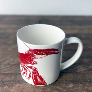 Red Lobster on a large mug made of porcelain from Caskata