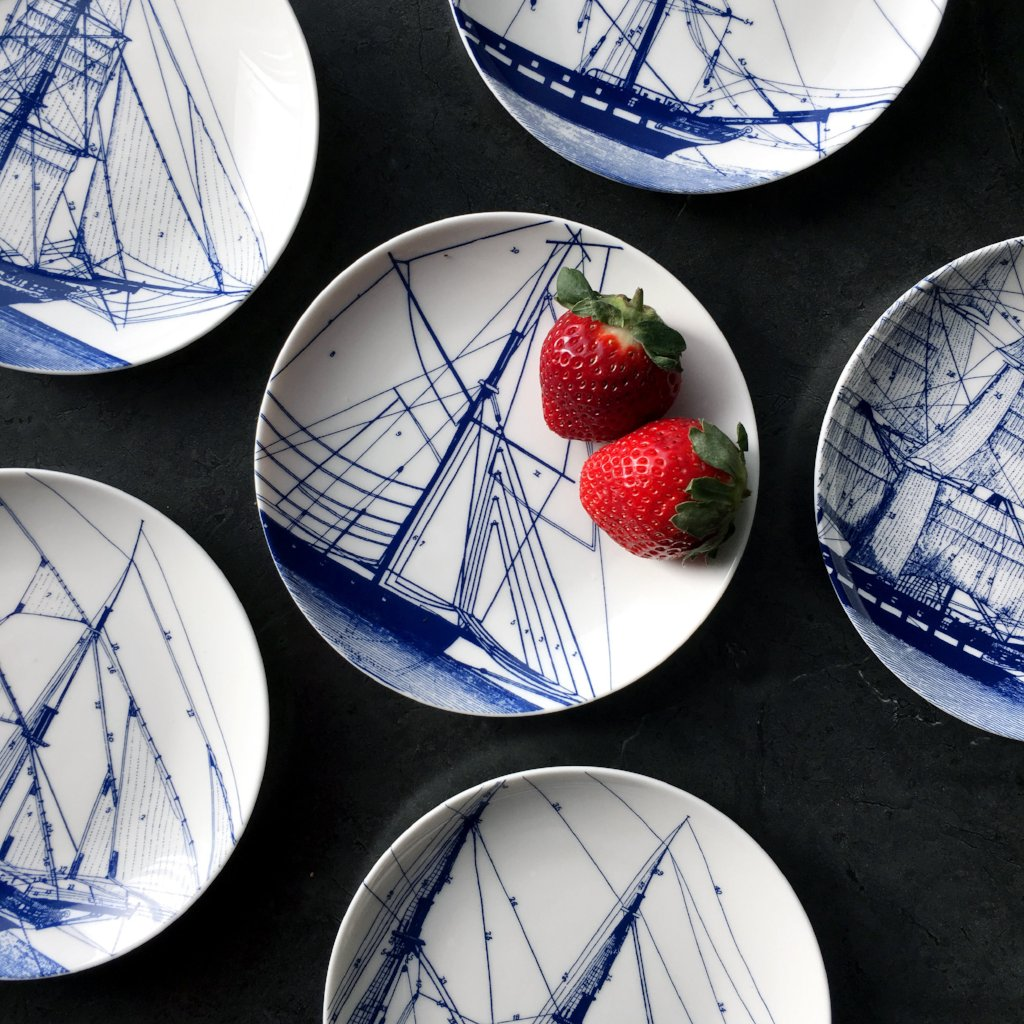 Blue Rigging Canapé Plates Boxed Set/4 - Caskata
