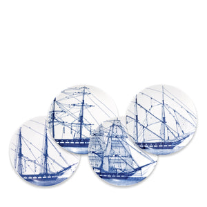 Rigging Blue Appetizer Plates Set/4