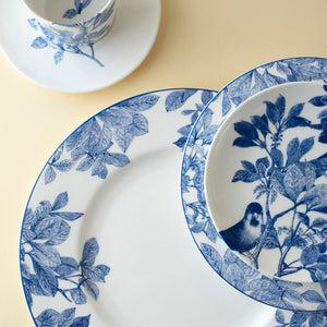 Arbor Blue and White Tableware 5 Piece Place Setting (Dinner Plate, Salad Plate, Bread Plate, Cup & Saucer)