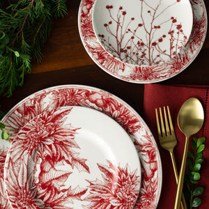 Poinsettia Red Alternate Full Coverage Salad Plate with Poinsettia Dinner and Salad and Winterberries Red Appetizer Plate