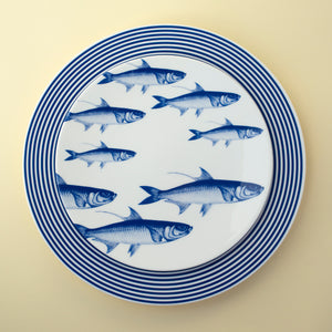 School of Fish Blue Accent Dessert Plate with Newport Blue Dinner Plate