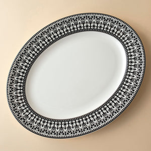 Casablanca Black Medium Rimmed Oval Platter