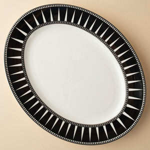 Marrakech Black Medium Rimmed Oval Platter