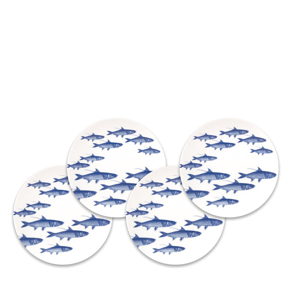 School of Fish Blue Appetizer Plates Set/4