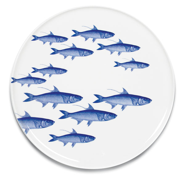 School of Fish Blue Round Coupe Platter