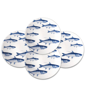 School of Fish Blue Accent Dessert Plates Set of 4