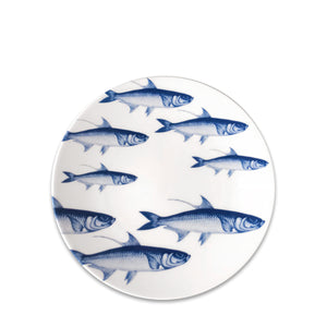 School of Fish Blue- Coupe Salad Plate - Caskata