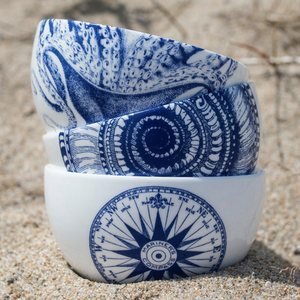 Shells Blue Small Snack Bowl with Blue Lucy Small Snack Bowl and Compass Rose Blue Small Snack Bowl